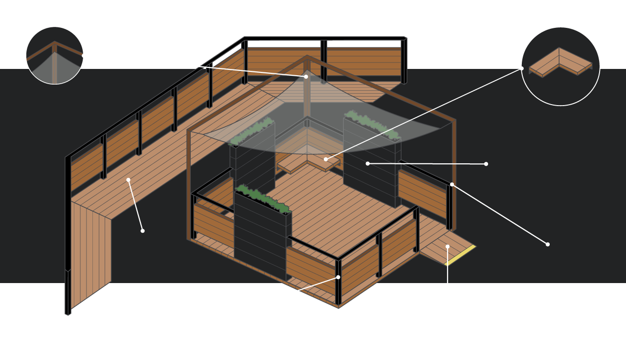 vector illustration of a pop up street patio