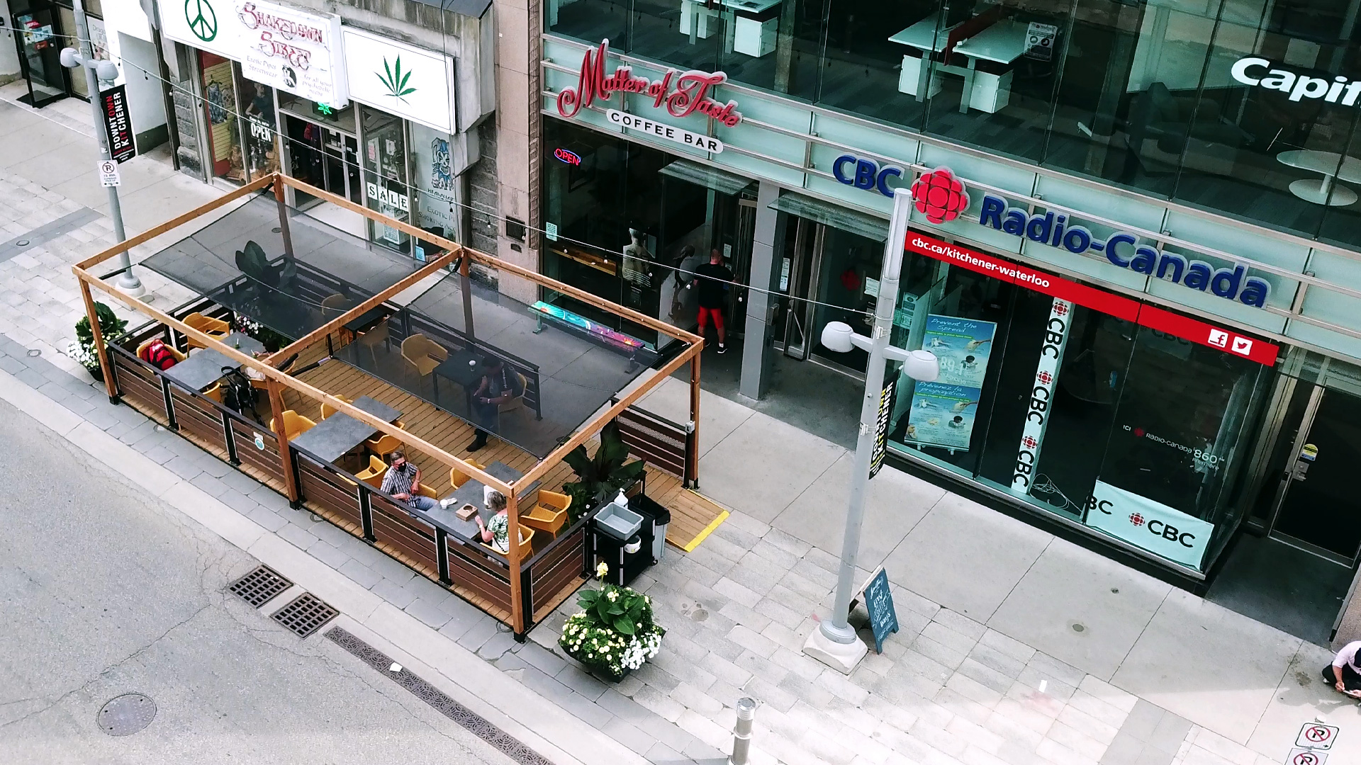 street patio on the sidewalk
