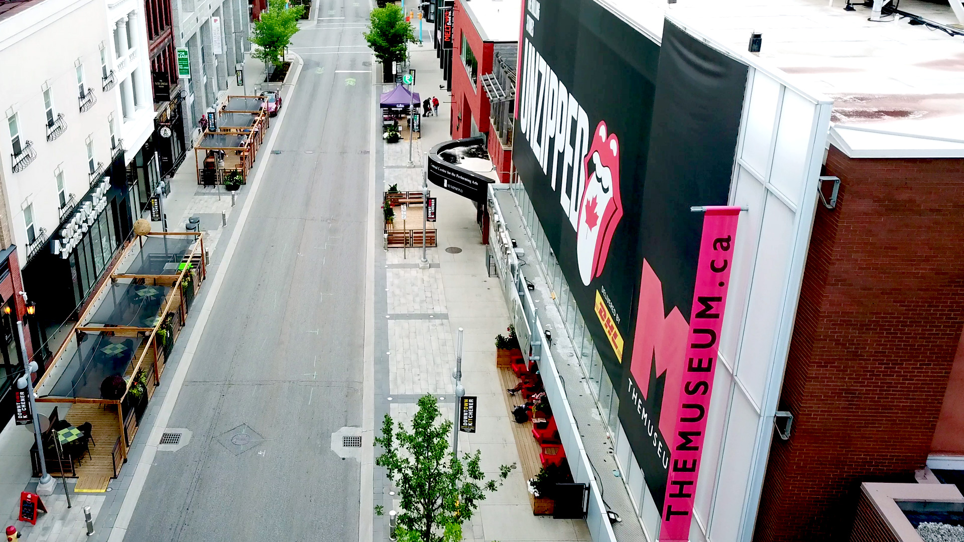 strip of patios on both sides of the street for kitchener business improvement area